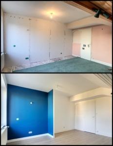 avant après rénovation mur, sol et plafond chambre d'enfant