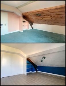 avant après rénovation revêtement muraux chambre d'enfant