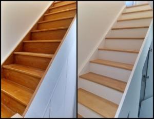 photo avant après de la rénovation d'un escalier en bois