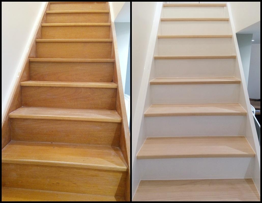 vue de face rénovation avant après escalier en bois