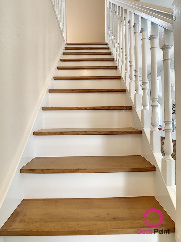escalier rénové marches poncées et vitrifiées