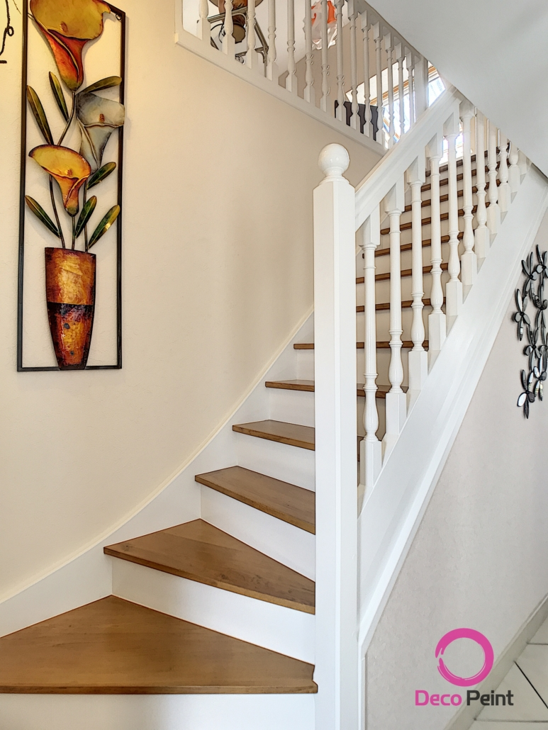 escalier modernisé, peint en blanc marche et garde corps